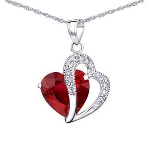 Jewelry - 5.60 Ct Heart Cut Ruby With Round Diamonds Pendant